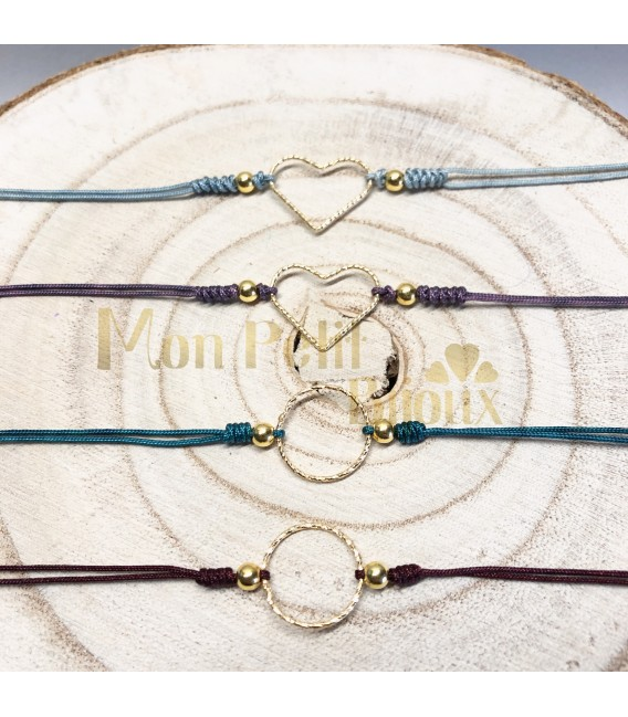 Pulsera cordón Corazón plata con baño de oro