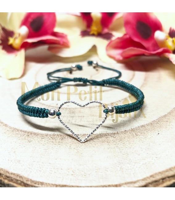 Pulsera Corazón con cordón en plata de ley