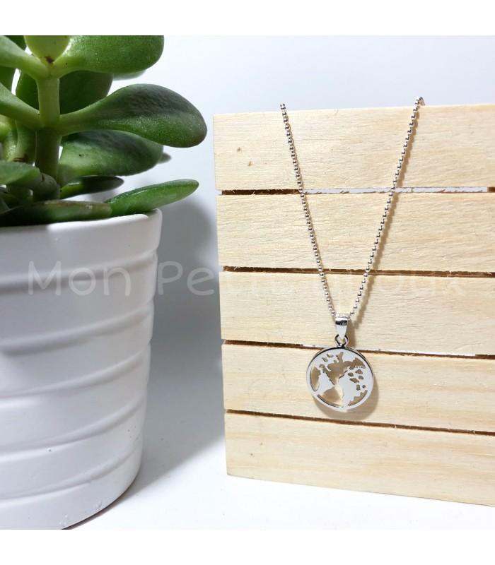 original mejor calificado mayor selección diseño elegante Collar Mapa plata
