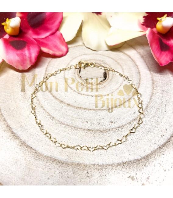 Pulsera Corazones mini plata con baño de ORO