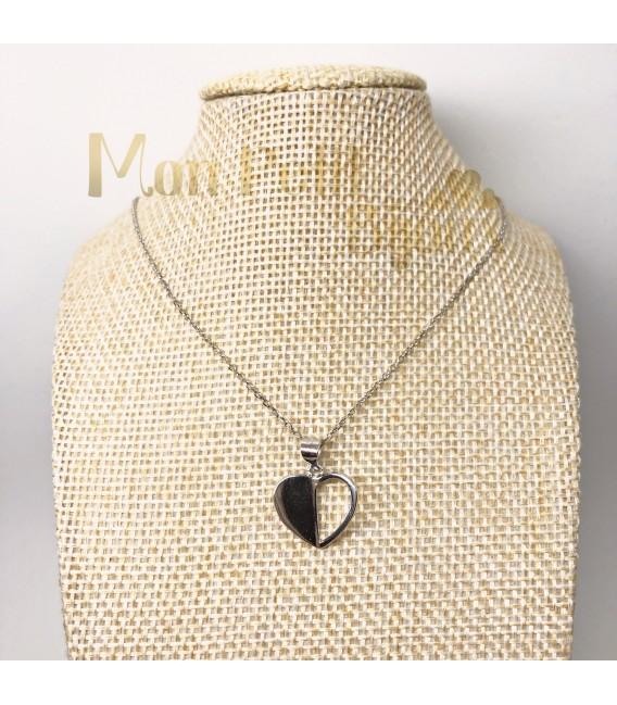 Collar Corazón mitades plata