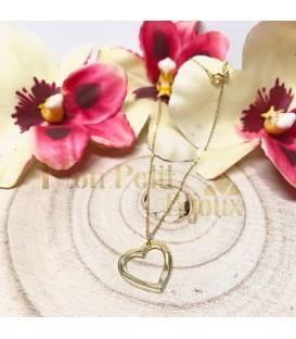 Collar colgante silueta Corazón plata con baño de oro
