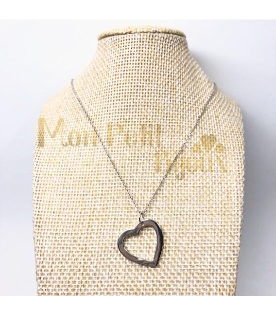 Collar colgante silueta Corazón plata