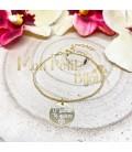 Pulsera personalizada bolas plata con baño de oro