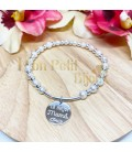 Pulsera personalizada semirigida plata y perlas