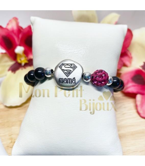 Pulsera personalizada bolas negras y cristales