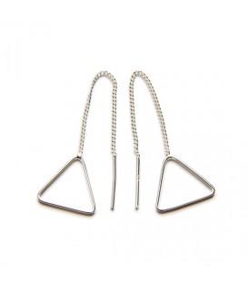 Pendientes Triangulo con cadena Plata