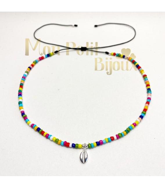 Collar Concha plata multicolor