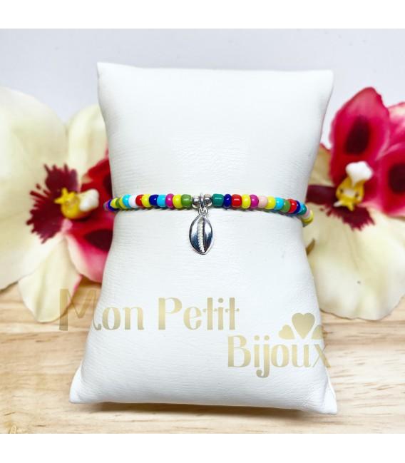 Pulsera Concha plata multicolor