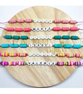 Pulsera Letras colores ajustable