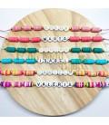 Pulsera Letras con discos de colores ajustable