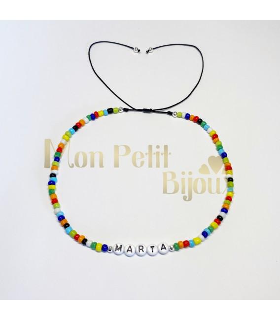 Collar Letras ajustable de colores
