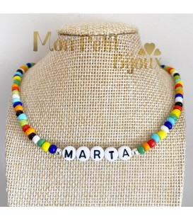 Collar Letras ajustable de colores