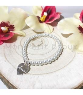 Pulsera perlas de cristal con placa grabada en plata de ley