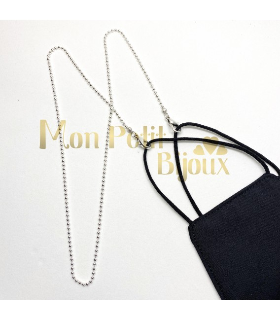 Collar para Mascarilla de Bolitas color plata