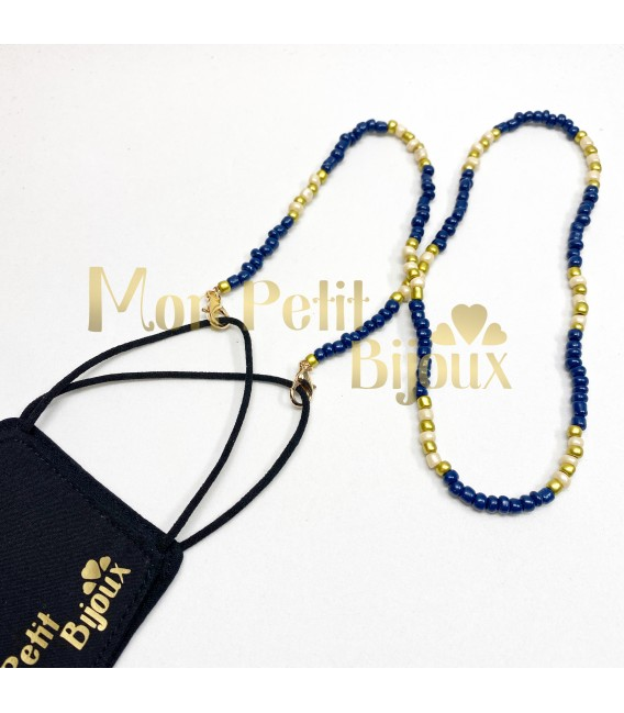 Collar para Mascarilla azul y dorado