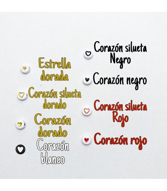 Pulsera Letras con bolitas mate
