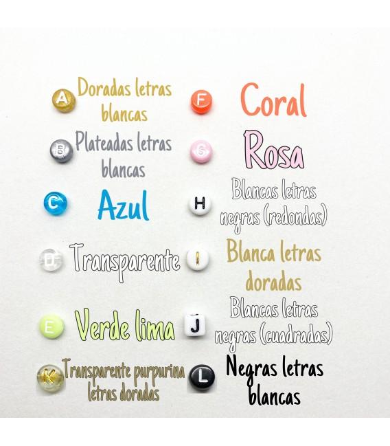 Pulsera letras con cristales de colores