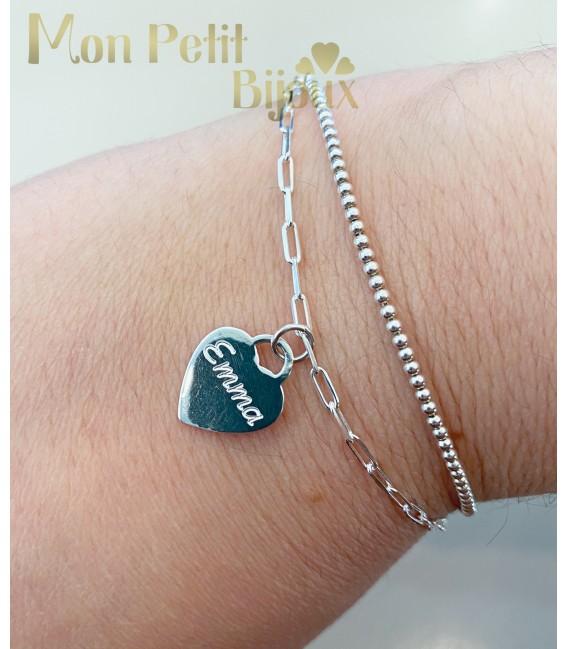 Pulsera personalizada corazón plata