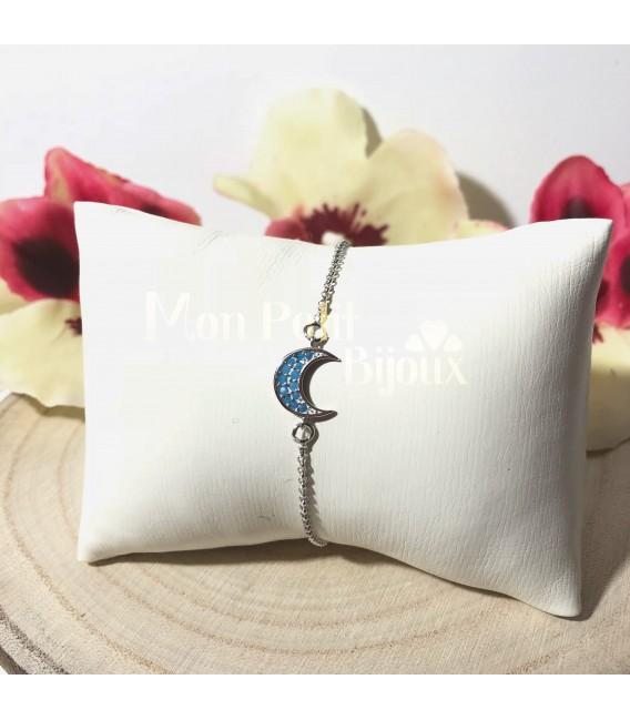 Pulsera Luna azul plata de ley