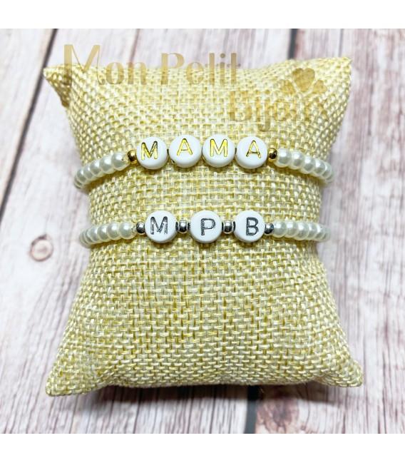 Pulsera letras con perlas de cristal