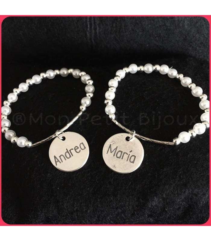 4f952873d409 Pulsera perlas semirígida con placa grabada