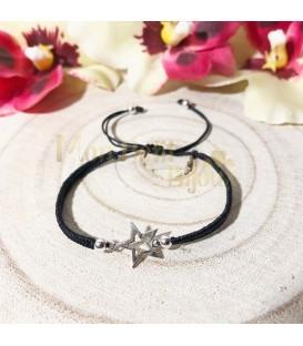 Pulsera plata Estrella cordón