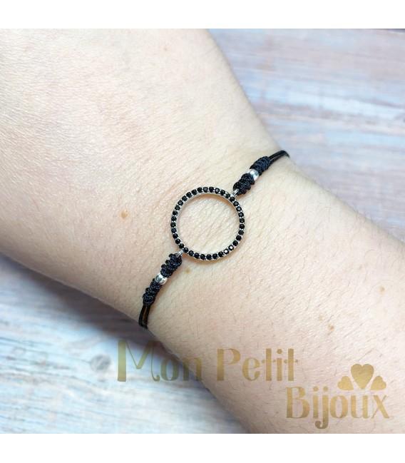 Pulsera cordón Círculo negro de plata