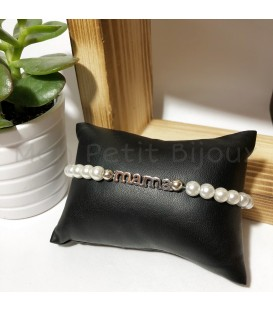 Pulsera Mama en plata de ley y perlas de cristal