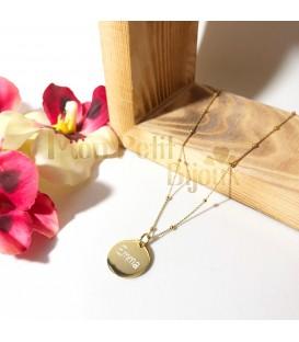 Collar bolitas personalizado plata con baño de oro (redondo)
