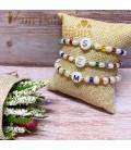 Pulsera combinada perlas y cuentas de color con inicial