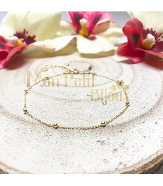 Pulsera bolitas plata con baño de oro