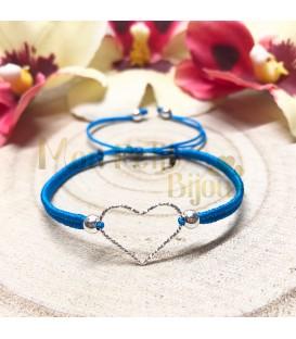 Pulsera Corazón plata cordón