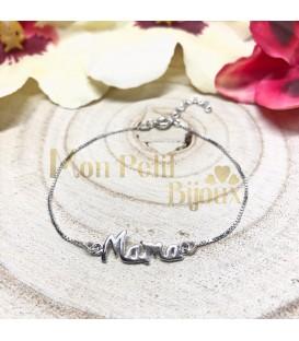 Pulsera Mama cursiva plata