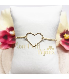 Pulsera Corazón cadena plata con baño de oro