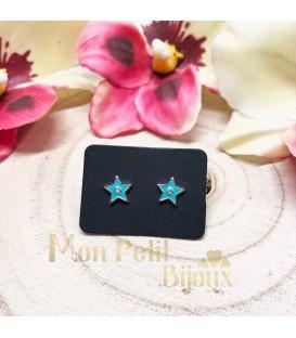 Pendientes Estrella azul plata y circonita